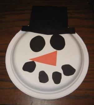 Preschool Art Snowman Paper Plate Face
